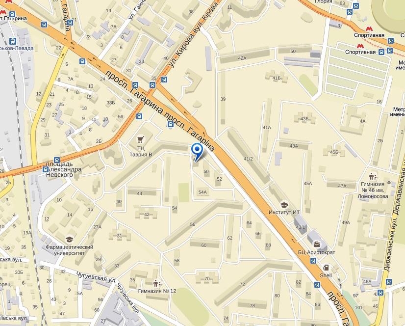 Карта проезда в офис компании Виза Легко в Харькове